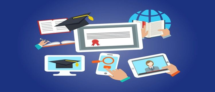 Color photo of mobile devices presenting online cybersecurity courses and e-learning.