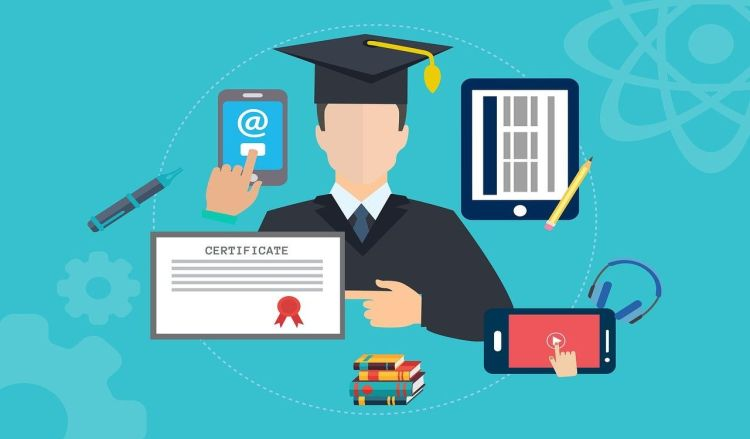 Color photo of a graduated student with mobile devices used to illustrate the meaning of e-learning with cybersecurity courses.