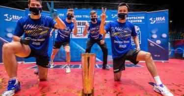 Der 1. FC Saarbrücken gewann zum ersten Mal den deutschen Meistertitel im Tischtennis. Foto: Benjamin Lau/TTBL Sport /dpa