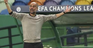 ManCity-Coach Pep Guardiola hat sich mit seiner Taktik gegen Lyon verzettelt. Foto: Miguel A. Lopes/Pool EPA/AP/dpa