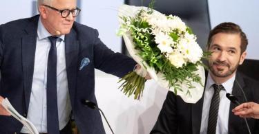 Mächtige Männer beim DFB: Präsident Fritz Keller (l) und Generalsekretär Friedrich Curtius. Foto: Boris Roessler/dpa