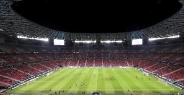 RB Leipzig wird in der Puskás Arena spielen. Foto: Laszlo Szirtesi/Pool Getty/AP/dpa