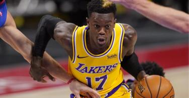 Lakers-Profi Dennis Schröder steht auf der Corona-Liste der NBA. Foto: Carlos Osorio/AP/dpa