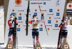 Dreifacherfolg für Norwegen: Johannes Kläbo (M) siegte vor Erik Valnes (l) und Haavard Solaas Taugböl. Foto: Karl-Josef Hildenbrand/dpa