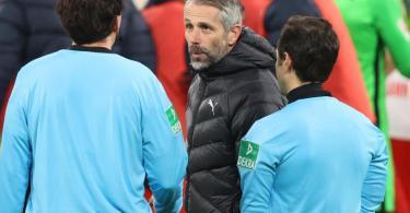 War nach Gladbachs Niederlage in Leipzig sichtlich angefressen: Borussia-Coach Marco Rose. Foto: Jan Woitas/dpa-Zentralbild/dpa