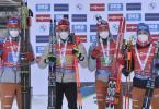 Die deutsche Biathlon-Männerstaffel: Philipp Nawrath (l-r), Arnd Peiffer, Benedikt Doll und Erik Lesser dem Sieg. Foto: Luboš Pavlíèek/CTK/dpa