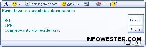 Digitando textos no MSN com Shift e Enter