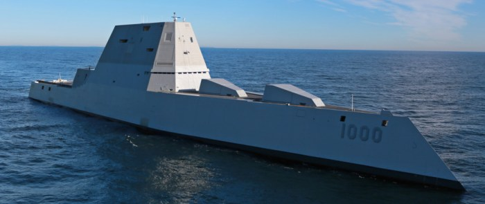 USS Zumwalt's first underway at sea, U.S. Navy photo.