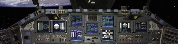 "The pilot's ""business intelligence dashboard"" aboard Space Shuttle Atlantis, NASA D"