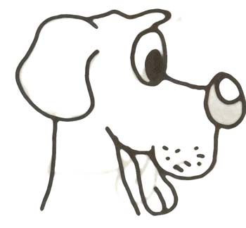 Hundemalvorlage - Hundekopf zum Ausdrucken
