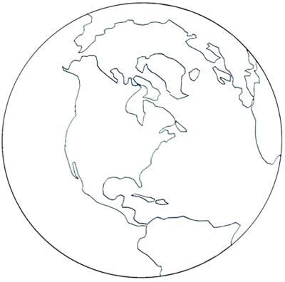 Erde Malvorlage - Ausmalbild Globus Erdkugel