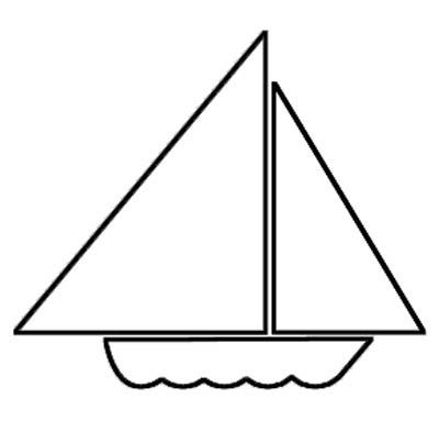Malvorlage Segelboot - kleines Boot zum Ausmalen