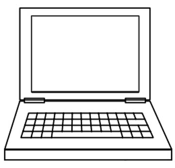 Notebook Malvorlage - Laptop Ausmalbild