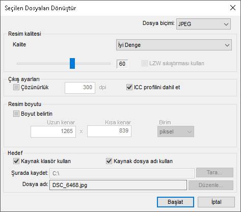 Capture NX-D Farklı Kaydet Seçenekleri.