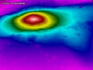 Infrared image locates a hot spot, which is indicative of a steam leak under the concrete slab - Infrared Imaging Services LLC