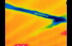 Infrared Image of water leak in ceiling from air conditioner - Infrared Imaging Services LLC