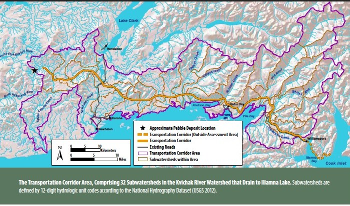 The Transportation Corridor Area, Comprising 32 Subwatersheds in the Kvichak River Watershed that Drain to Iliamna Lake. Subwatersheds are defined by 12-digit hydrologic unit codes according to the National Hydrography Dataset (USGS 2012).
