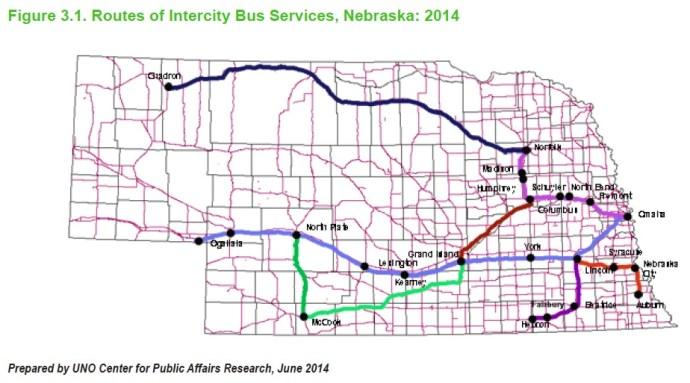 Figure 3.1. Routes of Intercity Bus Services, Nebraska: 2014