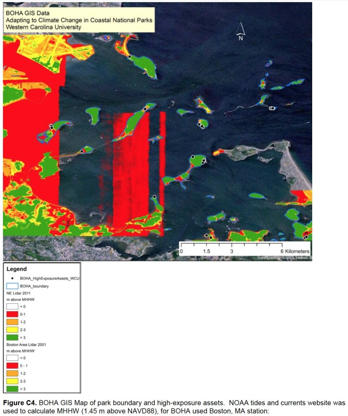 Figure C4. BOHA GIS Map of park boundary and high-exposure assets. NOAA tides and currents website was used to calculate MHHW (1.45 m above NAVD88), for BOHA