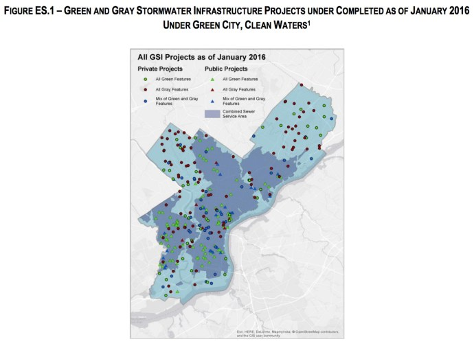 FIGURE ES.1 – GREEN AND GRAY STORMWATER INFRASTRUCTURE PROJECTS UNDER COMPLETED AS OF JANUARY 2016 UNDER GREEN CITY, CLEAN WATERS