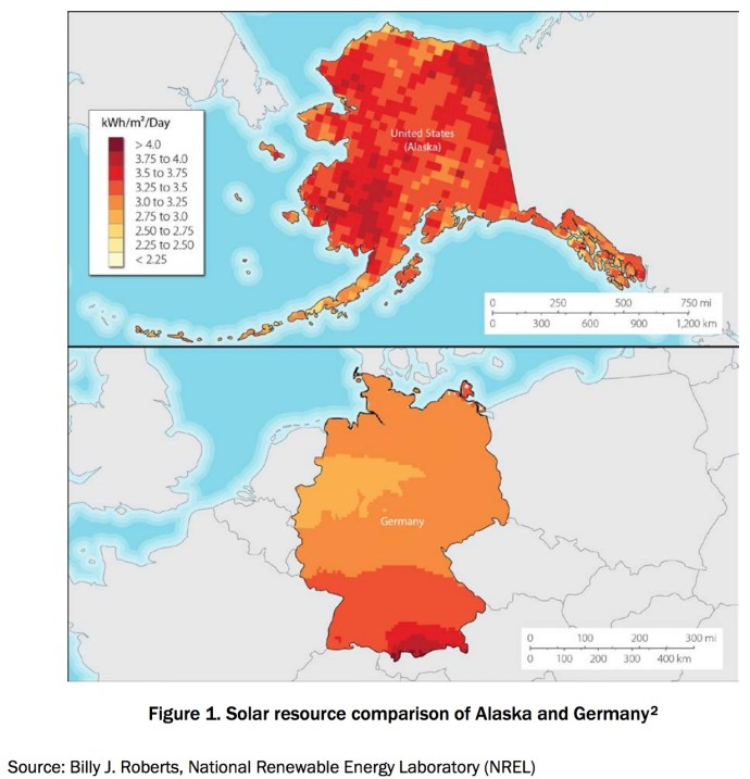 Figure 1. Solar resource comparison of Alaska and Germany