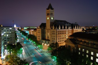 Photo by Wyn Van Devanter - Looking southeast down Pennsylvania Avenue in Washington, D.C. Visible landmarks include the Old Post Office Pavilion (center) and United States Capitol.