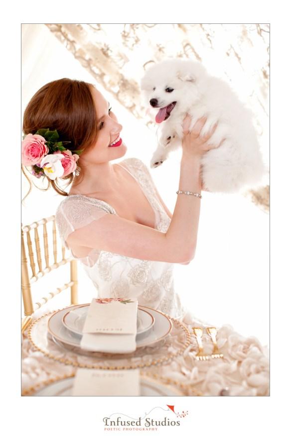Paris inspired styled wedding shoot by Edmonton wedding photographers :: bride + dog
