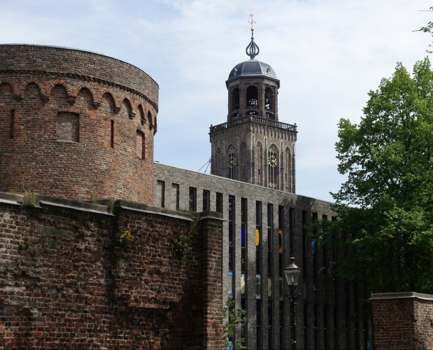 Deventer - old city wall and the tower of Grote of Lebuinskerk