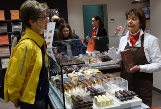 Buying choclate in Bruges