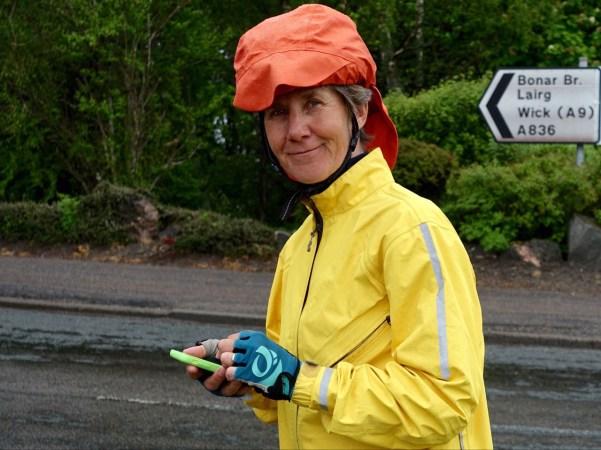 Inge with helmet cover