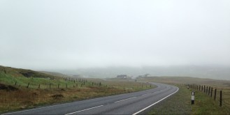 Out riding on our first day in the Shetlands. Cold, wet, foggy, hilly, windy.