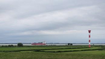 Ship heading to Hamburg on the Elbe