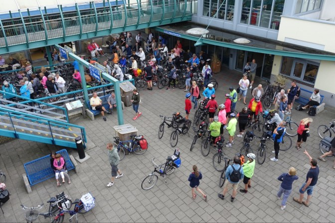 Cyclists waiting for the ferry to Texel