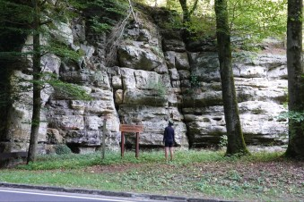 Rocky cliffs in a Luxembourg river valley.