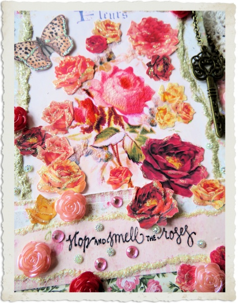 Handmade mixed media wallhanging Stop and smell the roses