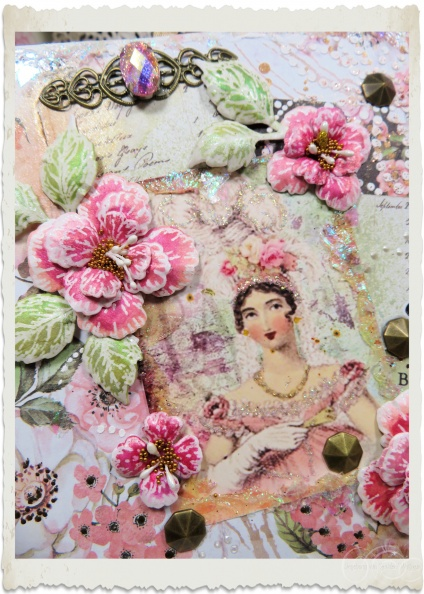 Details of handmade card with Heartfelt Creations Oakberry Lane flowers by Ingeborg van Zuiden