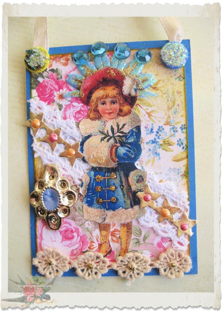 ATC card with snow fairy theme