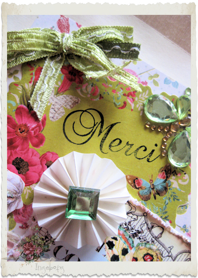 Details of ribbon bow on handmade Marie card