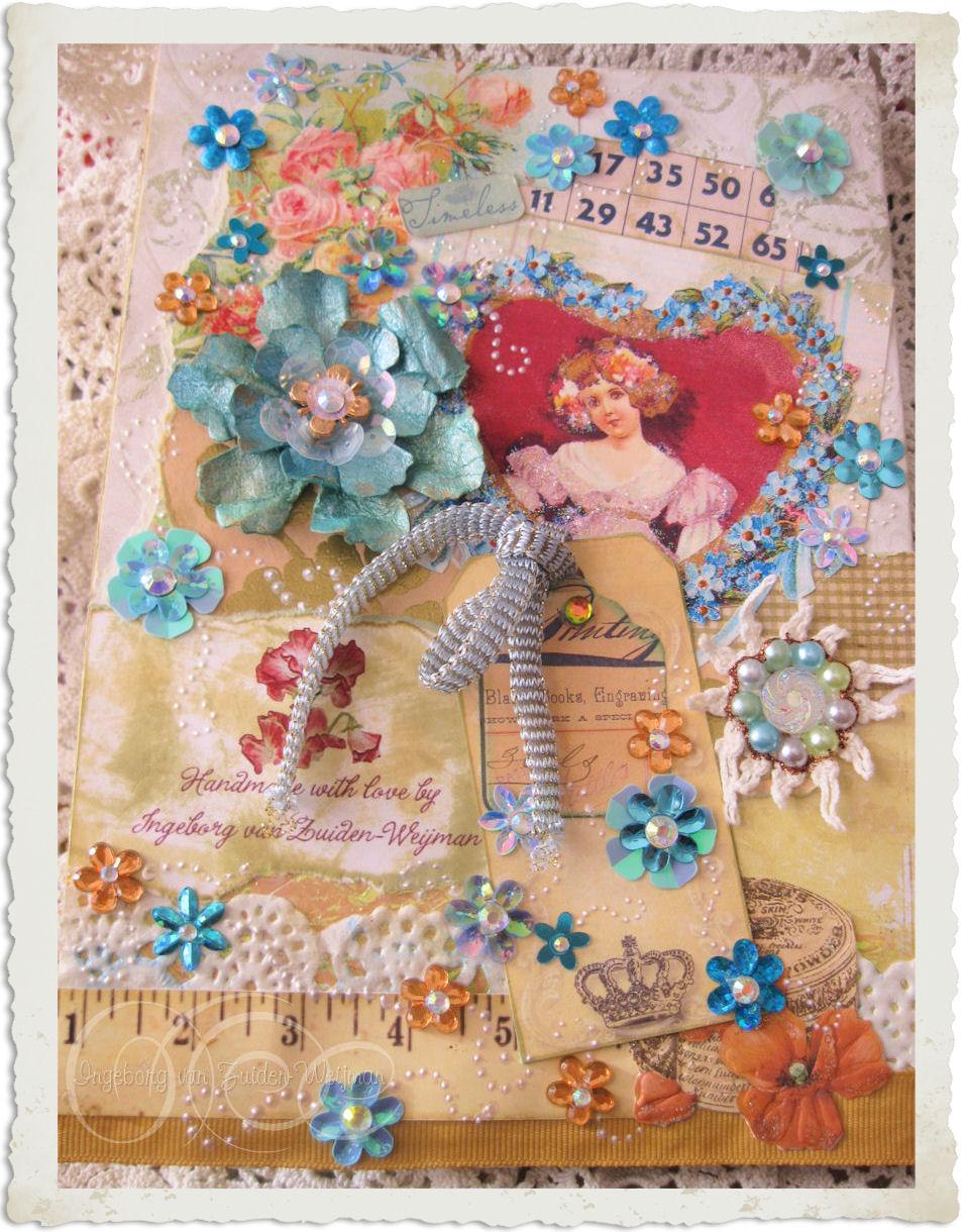 Backside of handmade Regency style card