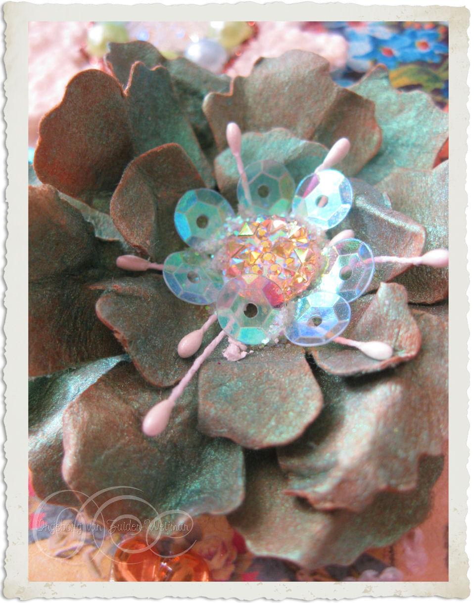Handmade paper flower with sequins