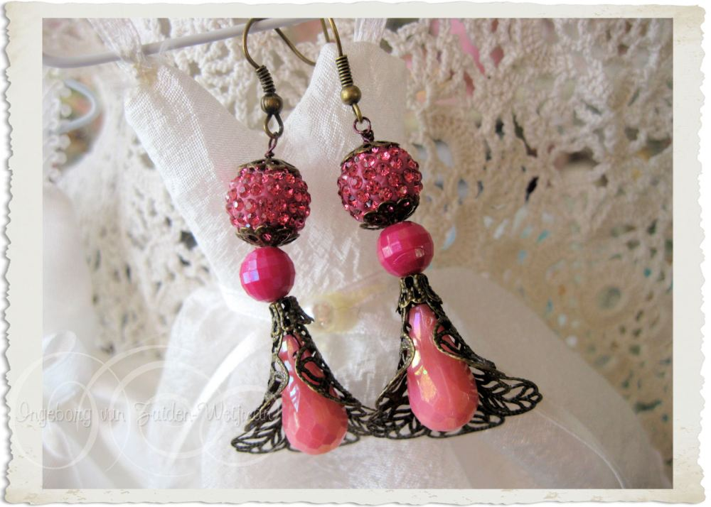 Pink bling bling earrings