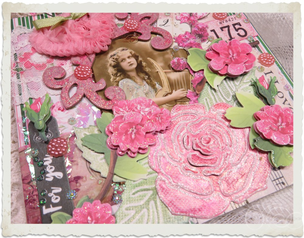 Pink flowers and embellishments details