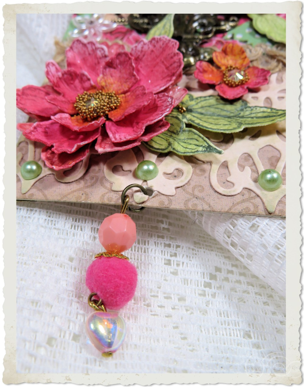 Pink beaded dangle with AB heart