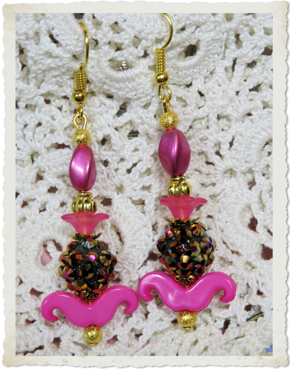 Pink smile earrings