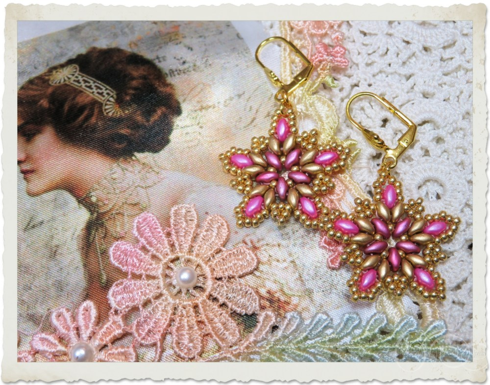 Pink gold star earrings by Ingeborg