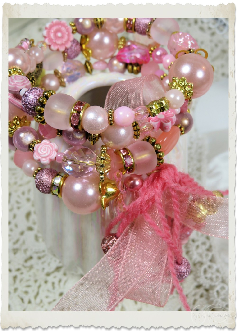 Pink pearl memory wire bracelet with gold findings