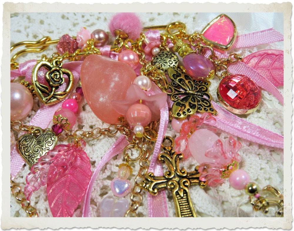 Details of pink beads and bling