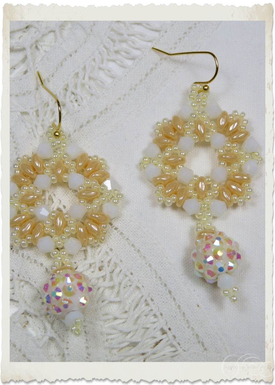 White creme Superduo wreath earrings