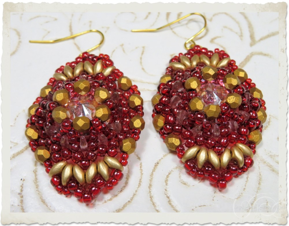 Red gold earrings with Superduo and Swarovski rivoli