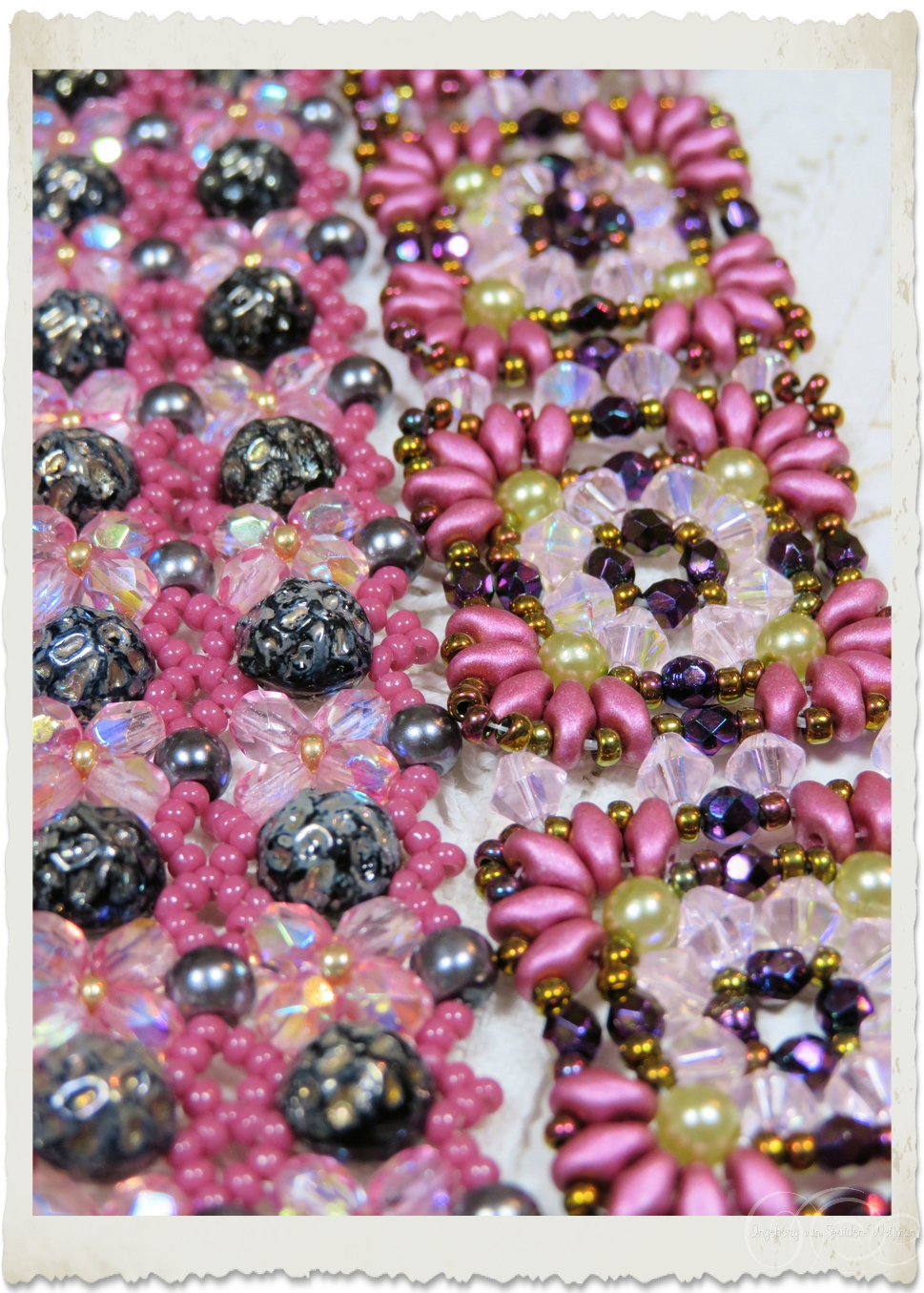 Details of pink bracelets with superduo beads
